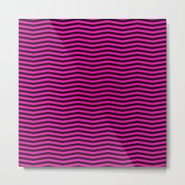 Hot Neon Pink and Black Chevron Zig Zag Stripe Metal Print