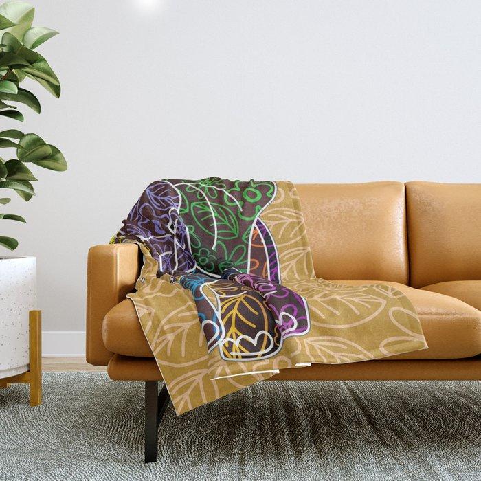 Elephant Floral Batik Art Design Throw Blanket By