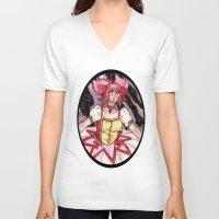 madoka V-neck T-shirts featuring Madoka Kaname from Puella Magi Madoka Magica by Jazmine Phillips