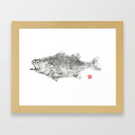 Largemout Bass rice paper large Framed Art Print