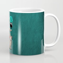 Blue Day of the Dead Sugar Skull Baby Turtle Coffee Mug