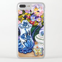 Pansies and Teapot oil Still Life Clear iPhone Case