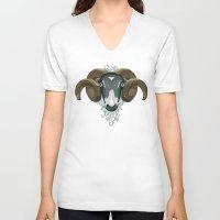 ram V-neck T-shirts featuring Ram by Stu Jones