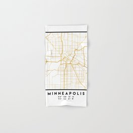 MINNEAPOLIS MINNESOTA CITY STREET MAP ART Hand & Bath Towel