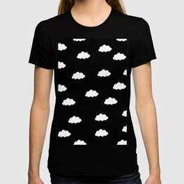 White clouds in black background T-shirt