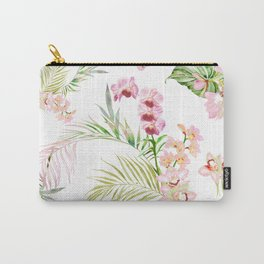Pink Orchid, Hostas + Palms Pattern Carry-All Pouch