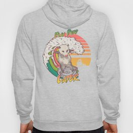 Play Dead Later - Funny Opossum T Shirt Rainbow Surfing On A Dumpster Can Lid Searching For Trash, Burning Dumpster Panda Summer Vibes Street Cats Possum Hoody
