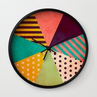 umbrella Wall Clocks featuring Umbrella by Louise Machado