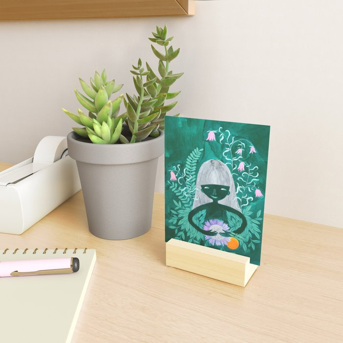 green women with plants and flowers watercolor illustration Mini Art Print