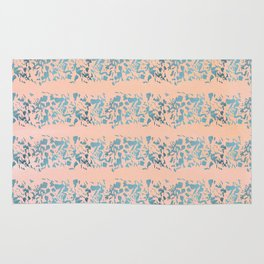 Coral teal watercolor abstract geometric stripes Rug