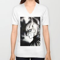bat man V-neck T-shirts featuring bat man by Tufty Cookie