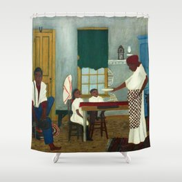 African American Masterpiece 'Saturday Morning Breakfast' by Horace Pippin Shower Curtain