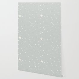 Grey star with fabric texture - narwhal collection Wallpaper