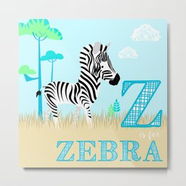 Z is for Zebra Metal Print