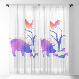 Pigs on the farm Sheer Curtain