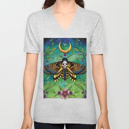 Neo Traditional Deaths-head moth Unisex V-Neck