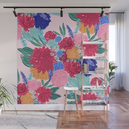 Cute Colorful Flowers Bouquet Hand Paint Wall Mural