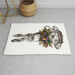 Rabbit in a Teacup | Vintage Rabbit in Tea Cup with Wildflowers | Bunny Rabbits | Bunnies | Hares | Rug