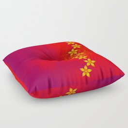 Beautiful yellow flowers and red grunge texture Floor Pillow