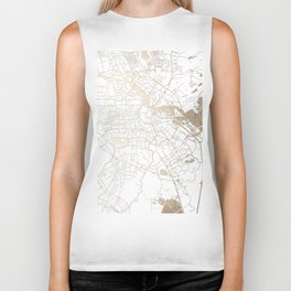 Amsterdam White on Gold Street Map II Biker Tank