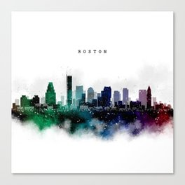 Boston Watercolor Skyline Canvas Print