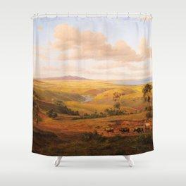View of Geelong by Eu von Guerard Date 1856  Romanticism  Landscape Shower Curtain