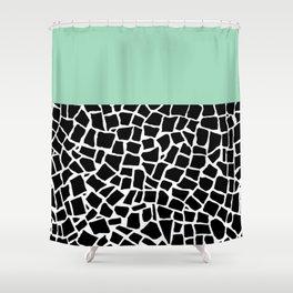 British Mosaic Mint Boarder Shower Curtain