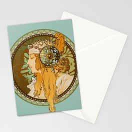 "Alphonse Mucha ""Byzantine Head: The Blonde"" edited Stationery Cards"