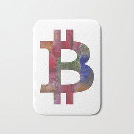 Bitcoin Multicolor hand-drawn watercolor pattern Bath Mat