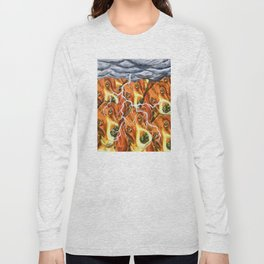 Beagle Villagers In The Thunderstorm #3 Long Sleeve T-shirt
