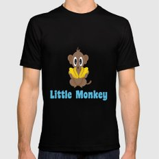 Little Monkey! Too Many Bananas MEDIUM Mens Fitted Tee Black