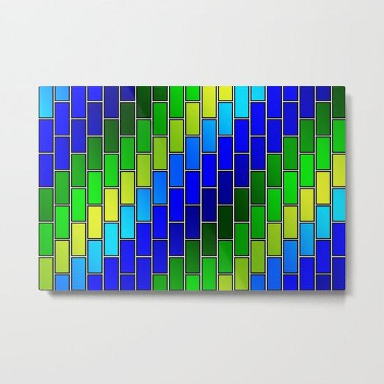 BRICK WALL #2 (Blues, Greens & Yellows) Metal Print