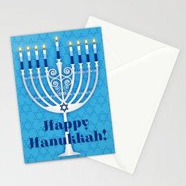 Happy Hanukkah Lit Menorah Stationery Cards