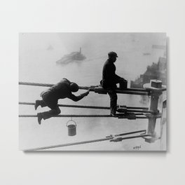 Brooklyn Bridge Painters Vintage Photograph (1915) Metal Print