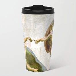 The Creation of Adam Painting by Michelangelo Sistine Chapel Travel Mug