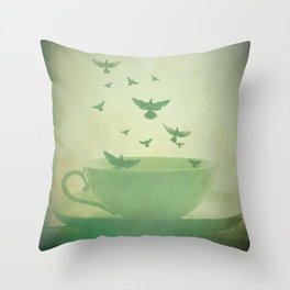 Morning Flight Coffee Tea Bird Flying Dream Surreal Home Kitchen Art Throw Pillow