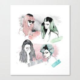 pink, green, silver, & blue Canvas Print