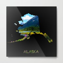 Alaska Outline - God's Country Metal Print