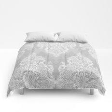 Lace & Shadows 2 - Monochrome Moroccan doodle Comforters