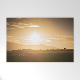 Sheep grazing in Lake District at sunset in England Welcome Mat