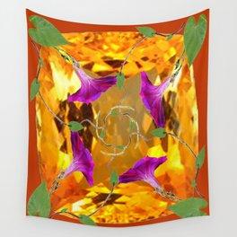Sherry Topaz Gem & Purple Morning Glories Design Wall Tapestry