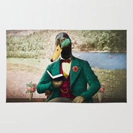 Monsieur Mallard Reading an Improving Book Rug