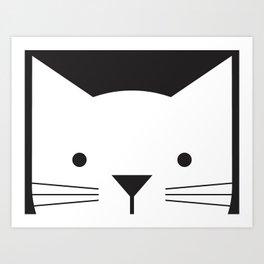 Peek-a-Boo Kitty, Black and White Art Print