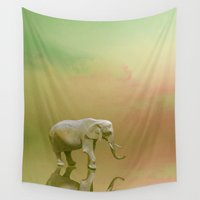 lonely Wall Tapestries featuring Lonely Elephant by pkarnold + The Cult Print Shop