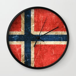 Vintage Aged and Scratched Norwegian Flag Wall Clock