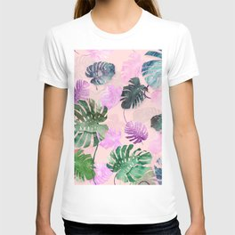 Tropical Leves on Pink T-shirt