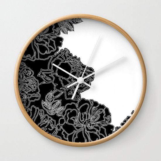 Wall Clock Floral Design : Floral in black and white wall clock by absentis designs