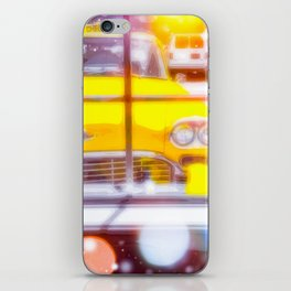 yellow classic taxi car with colorful bokeh light abstract background iPhone Skin