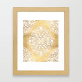 White Gouache Doodle on Gold Paint Framed Art Print