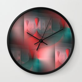 mirrored globs red and green Wall Clock